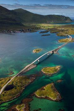 The Fredvang Bridges, Lofoten Island Archipelago, Norway.