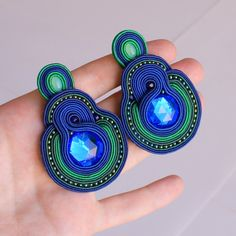 long peacock soutache earrings