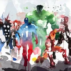 The avengers in water paint. Star Wars Origami, Marvel Avengers Assemble, Avengers Art, Iron Man Wallpaper, Marvel Wallpaper, Avengers Characters, Marvel Comic Character, Hawkeye, Thor Drawing