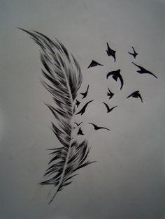 http://tattoomagz.com/feather-and-bird-tattoo-meaning/tattoo-center-bird-crow-feather-tattoo-designs-3/
