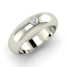 Round Diamond Men's Ring in 14k White Gold