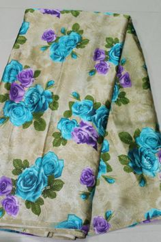 DIGITAL FLORAL PRINTED SATIN FABRIC