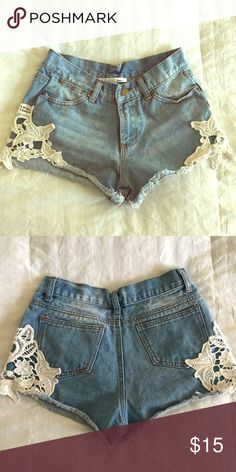 Ellison shorts Ellison denim shorts with lace detail on the sides super cute very comfortable ellison Shorts Jean Shorts