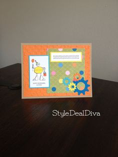 Stampin Up! Lots of Bots Robot Happy Birthday Card with Cogs by StyleDealDiva on Etsy, $3.00