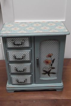 Dusty Turqoise Blue Shabby Chic Vintage Jewelry Box by Eweniques, $79.00