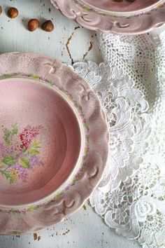 Pink dishware & lace overlay for a vintage look