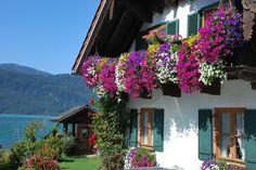 De balkons vol bloemen, typisch Oostenrijks! #rondreis #Oostenrijk