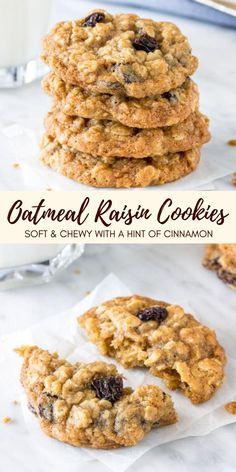 Soft Oatmeal Raisin Cookies, Sugar Free Oatmeal, Oatmeal Cookie Recipes, Easy Cookie Recipes, Sweet Recipes, Dessert Recipes, Oatmeal Cinnamon Cookies, Oatmeal Protein Cookies, Best Oatmeal Recipe