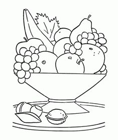 Fresh Fruit In The Basket Coloring Page For Kids