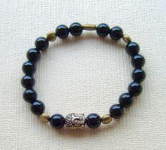 Bracelet yoga homme en perles d'onyx et perles de bronze. Idée cadeau : Bracelet…