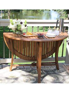 "Round Folding Table, 48"" - Eucalyptus Wood | Gardeners.com"