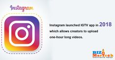 Instagram launched IGTV app in 2018 which allows creators to upload one-hour long videos.   #IGTV #upload #2018 #instagram #videos #launched #business The Creator, Product Launch, App, Activities, Logos, Business, Videos, Instagram, Apps