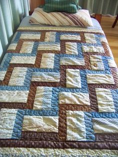 """""""Guide Rails"""" Quilt made for Hubby for Christmas with his favourite Scripture embroidered on the borders."""