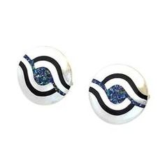 Margot de Taxco Sterling Silver and Natural Stone Inlay Cufflinks