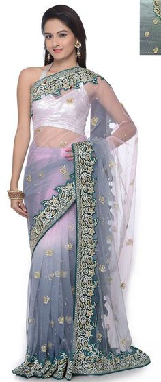 $602.19 Grey Net Stone and Resham Work Wedding Saree 25411