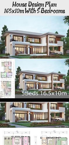 House Design Plan 16 5x10m With 5 Bedrooms In 2020 Home Design Plans Family House Plans French House Plans