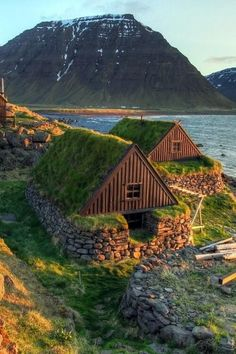 Viking Stone/ Turf Houses in Iceland.
