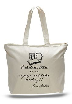 Jane Austen Reading Books Quote Tote Bag Book Tote by NerdGirlTees