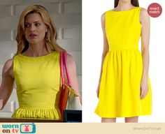 Paige's yellow fit and flare dress on Royal Pains.  Outfit Details: http://wornontv.net/36194/ #RoyalPains
