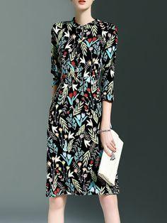 #AdoreWe CYANINE SEA Elegant 3/4 Sleeve Floral Printed A-line Midi Dress - AdoreWe.com