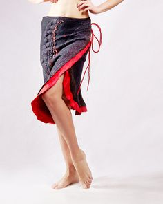 Black and red wrap skirt  dress tunic corset felted by Baymut,