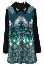 Green Asymmetrical Rhinestone Floral Chiffon Dress $59.35