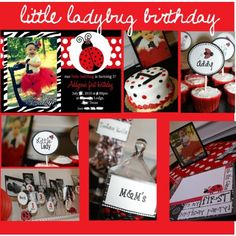 Little Ladybug Birthday Party. Black & Red for UGA game which will be after her party???
