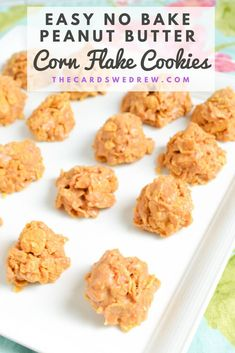 This easy no-bake peanut butter corn flake cookies recipe is so simple to make and only needs 4 ingredients. You can add a little flavor to these chewy cookies by adding a chocolate drizzle on top or by adding marshmallows to the mix! We like to use Kellogg's Corn Flakes, which can be used with so many other recipes. These have a great butterscotch like flavor and make a ton to feed a crowd quickly! Grab this easy no bake dessert recipe now! Fruit Cookies, No Bake Cookies, Yummy Cookies, Easy No Bake Desserts, Fun Desserts, Dessert Recipes, Delicious Cookie Recipes, Best Cookie Recipes, Cornflake Cookies Recipe