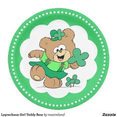 Leprechaun Girl Teddy Bear 9 Inch Paper Plate