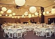decorating a gym for a wedding reception - Bing Images; one of the images this shows has 3 tiers of hola hoops with lights and tulle in between hanging from the ceiling with fake flowers around the hoop...soooooooooo pretty!!!!