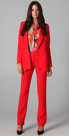 Absolutely stellar RED Preen Lazar Jacket and Razor Pants.