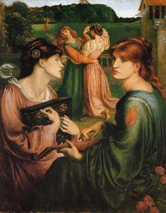 Tableaux sur toile, reproduction de Rossetti, The Bower Meadow, 85x67cm