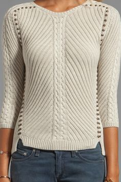 Autumn Cashmere Studded Rib Cable Crew Sweater in Hemp
