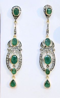 Victorian. 14k Gold, Silver, Emerald and Diamond Pendant Earrings.