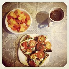 Breakfast: molletes , fruit and tea