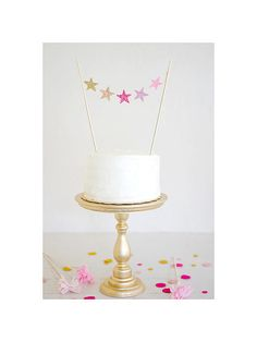 pink and gold OMBRE Felt Glitter cake topper STARS by mosey, $18.00