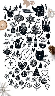 Christmas clipart Christmas svg Digital paper Christmas cards Scandinavian clipart Christmas tags Black and white Christmas seamless pattern Christmas clipart Monochrome Digital paper Christmas tags Scandinavian style Christmas cards Black a Christmas Clipart, White Christmas, Christmas Holidays, Christmas Crafts, Christmas Decorations, Christmas Doodles, Holiday Decorating, Illustration Noel, Christmas Illustration