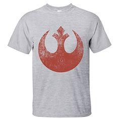 TOTOT Mens Star Wars Logo The Force Awaken Old Rebel Alliance Cotton TShirt grey M >>> For more information, visit image link.
