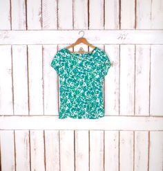 90s vintage green/white spotted short sleeve pullover/green white boxy loose blouse/Gap by GreenCnynMercantile on Etsy
