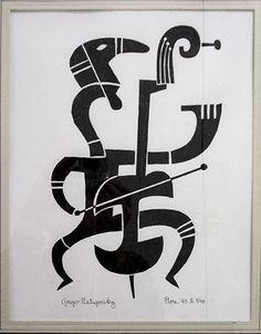 'Piatigorsky' (1945) by American artist Jim Flora (1914-1998). via Dorian Grey Gallery