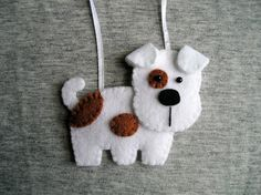Perro de fieltro hecho a mano adorno perro terrier Adorno