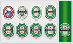 typografie- De verandering van het Heineken logo past bij typografie omdat het toch elke keer wel een beetje in de zelfde sferen valt.