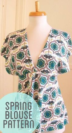 Loving this empire waist spring blouse. Add a cami and it becomes work friendly. This would also make a cute dress or beach cover up if made longer. My mind is spinning with ideas.