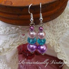 Boutique Dangly  Beaded Earrings Purple by RomanticallyVintage, $12.00