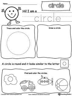 Learn all about the shape circle in this math printable worksheet. Practice tracing, drawing, coloring pictures of circles, writing the number of sides and corners.
