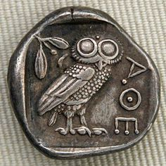 tumbleword:  larameeee: Silver tetradrachm issued by Athens, ca. 450s BC, reverse: owl, olive spray and crescent moon, with the inscription ΑΘΕ