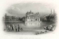 Sacred Temple and Tank – Umritsir  From a Sketch by William Carpenter, Engraved by J.C. Armytage, ca. 1854, engraving. Notice the large mysterious building to the left of The Golden Temple on the parkarma. No such structure exists today, this is The Lost Palace of Amritsar, to learn more see the SikhMuseum.com Exhibit - The Lost Palace of Amritsar