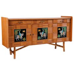 Italian Parquet Bamboo Dresser with Painted Tile Panels | From a unique collection of antique and modern credenzas at https://www.1stdibs.com/furniture/storage-case-pieces/credenzas/