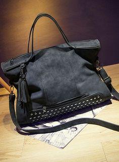 Ширина плеч Сумка с открытым верхом Мода PU черный серый большой Мешки (1016372) @ floryday.com