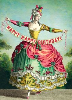 Victorian happy birthday woman banner vintage antique